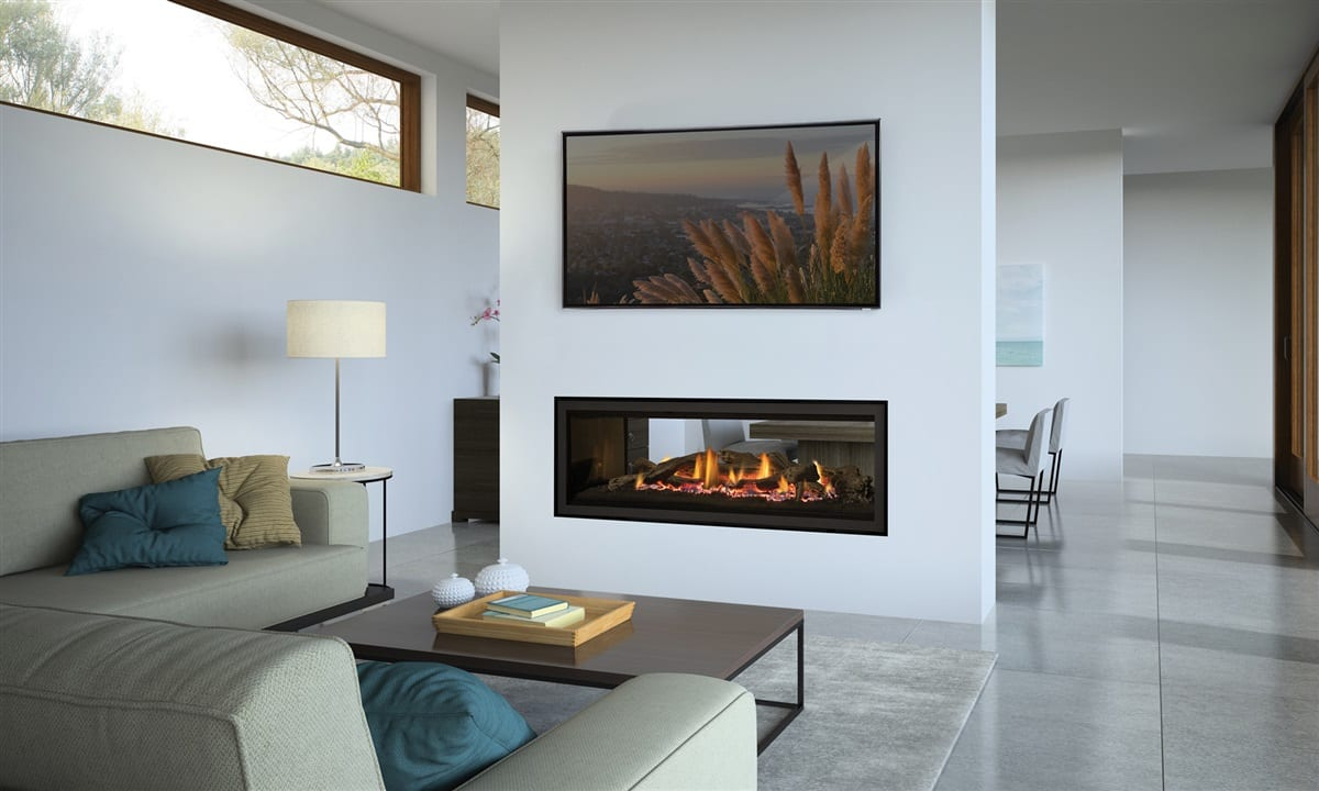Regency Greenfire GF1500LST See-Through Gas Fireplace available NZ at Turfrey Heating. Showrooms in Hastings