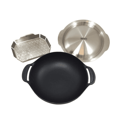 Weber Gourmet Barbeque System Cast Iron Wok and Steamer Set