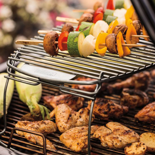 Weber Expansion Grilling Rack chicken and vegetables