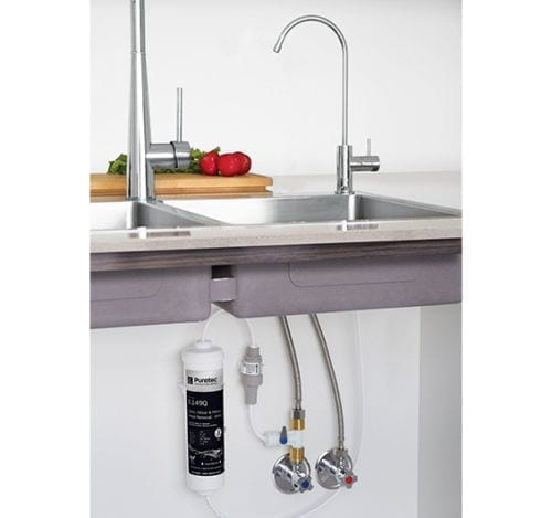 Puretec X3 Inline Undersink Water Filter System with High Loop LED Faucet