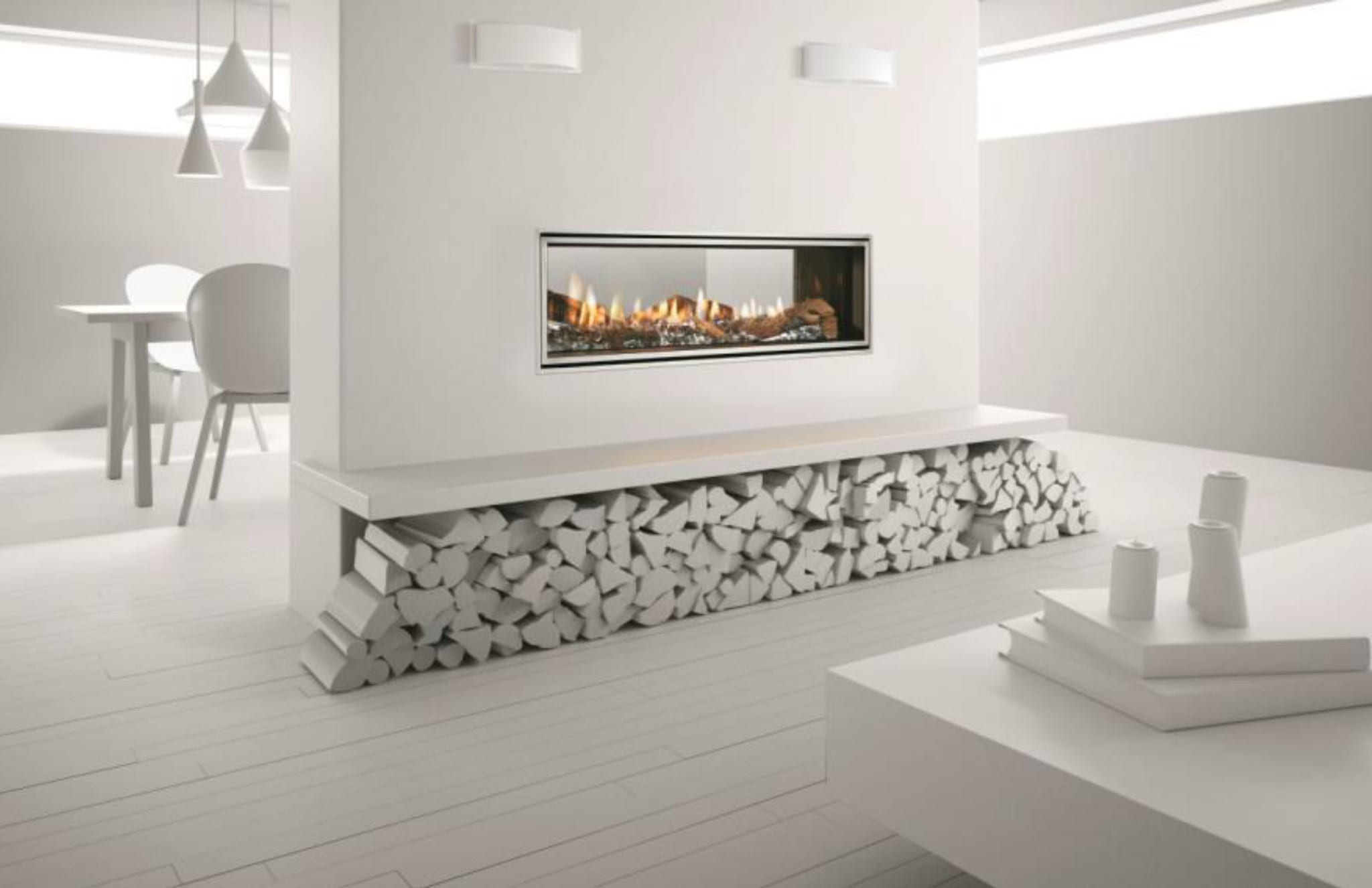 Heat & Glo Mezzo 1300ST See-Through Gas Fireplace Duplex Double Sided Gas Fire showroom Turfrey Palmerston North & Hamilton. Architectural gas fire NZ.