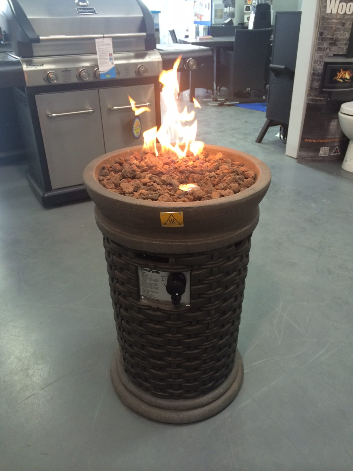 Gasmate Wicker Round Fire Bowl Turfrey